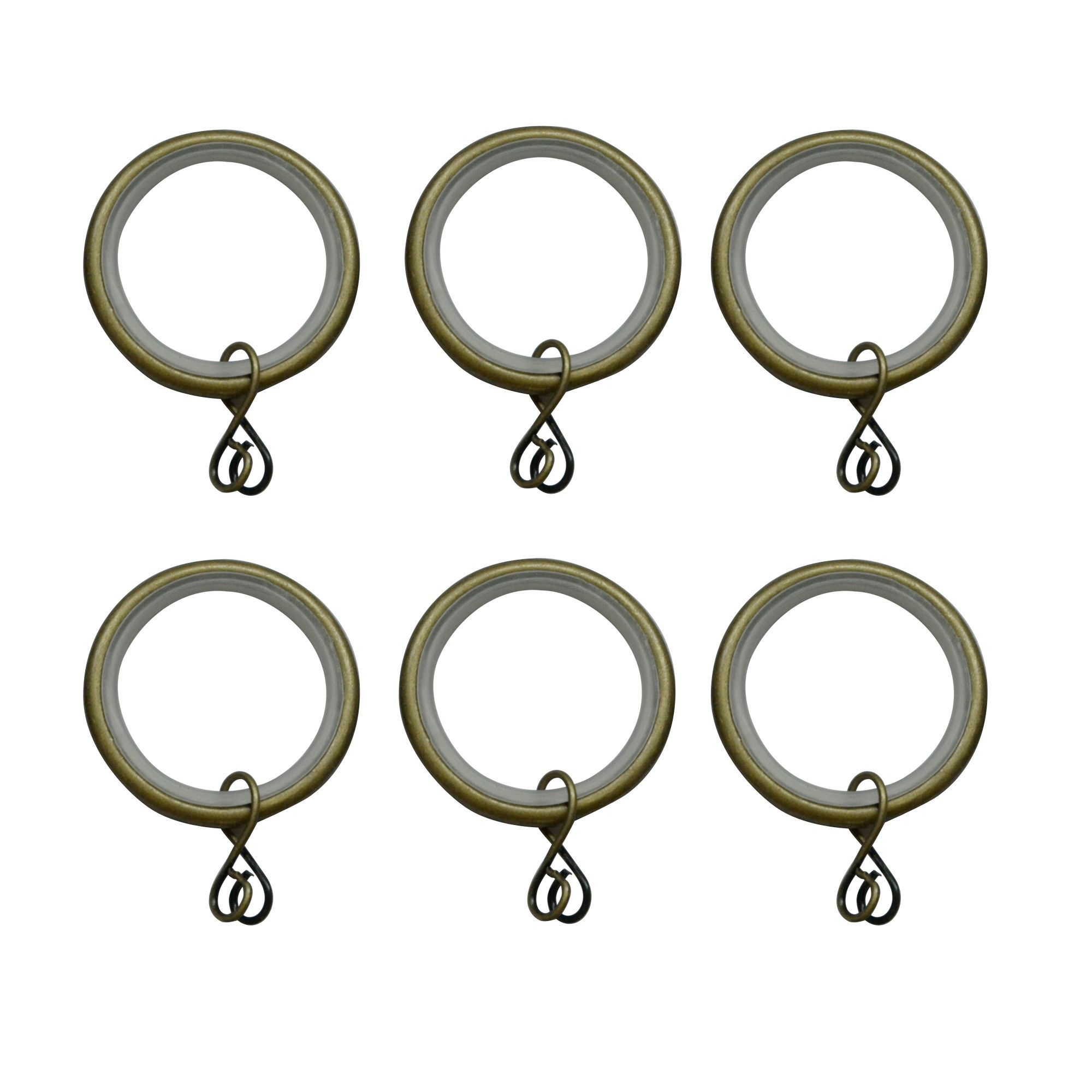 Antique Brass Effect Metal Round Curtain Ring (Dia)19mm