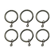 Stainless steel effect Metal Round Curtain ring (Dia)28mm, Pack of 6