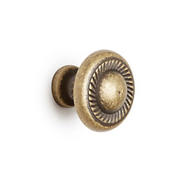B&Q Antique brass Round Bedroom Knob Cabinet handle