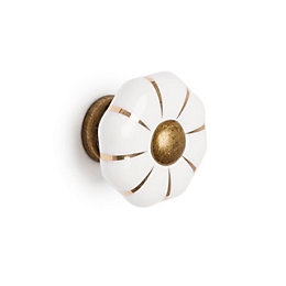 B&Q Antique Brass White Round Cabinet Handle