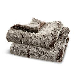 Kinsley Grey Faux Fur Throw