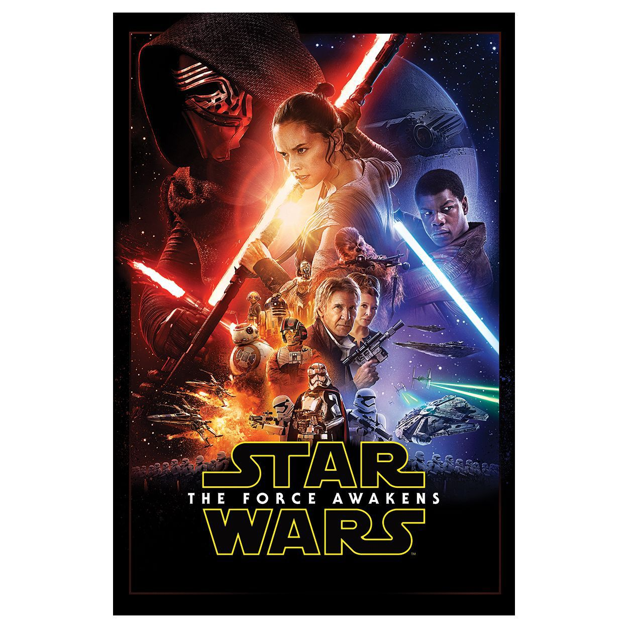 star wars the force awakens multicolour movie poster canvas print
