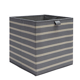Mixxit Anthracite Striped Cardboard & polyester Storage