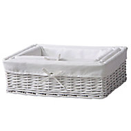 White 3L Willow Nestable Storage box, Pack of 3