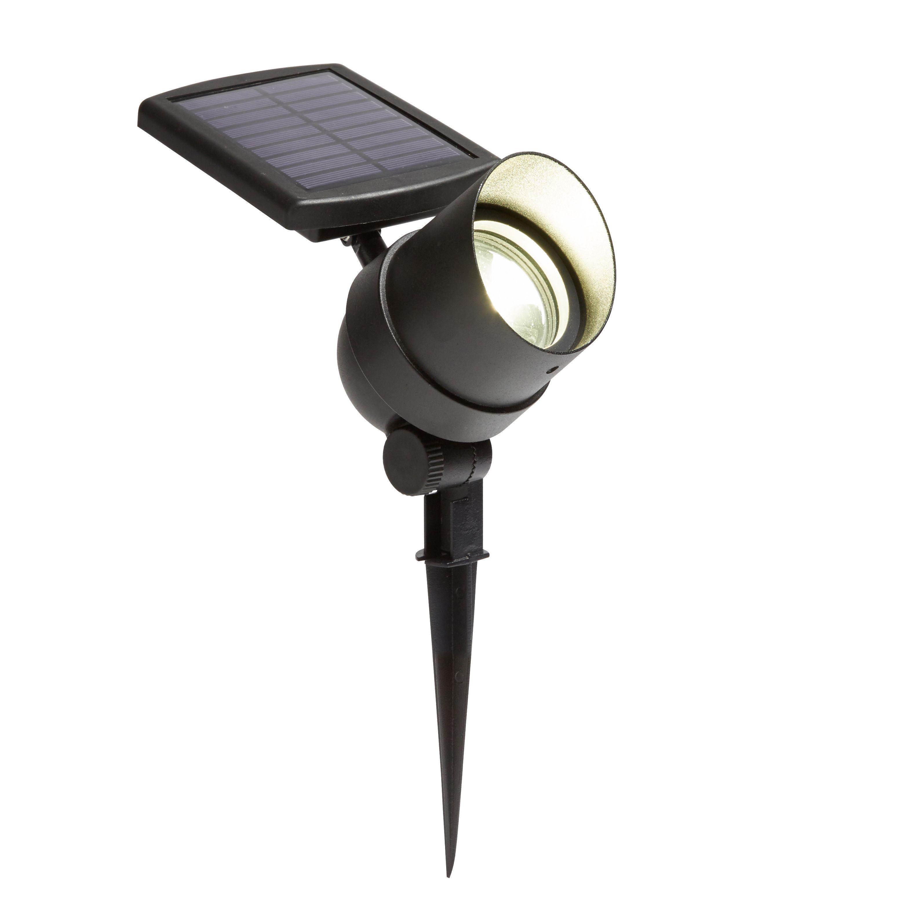 Solar Lights B Q: Blooma Telemus Black Solar Powered LED Spot Light