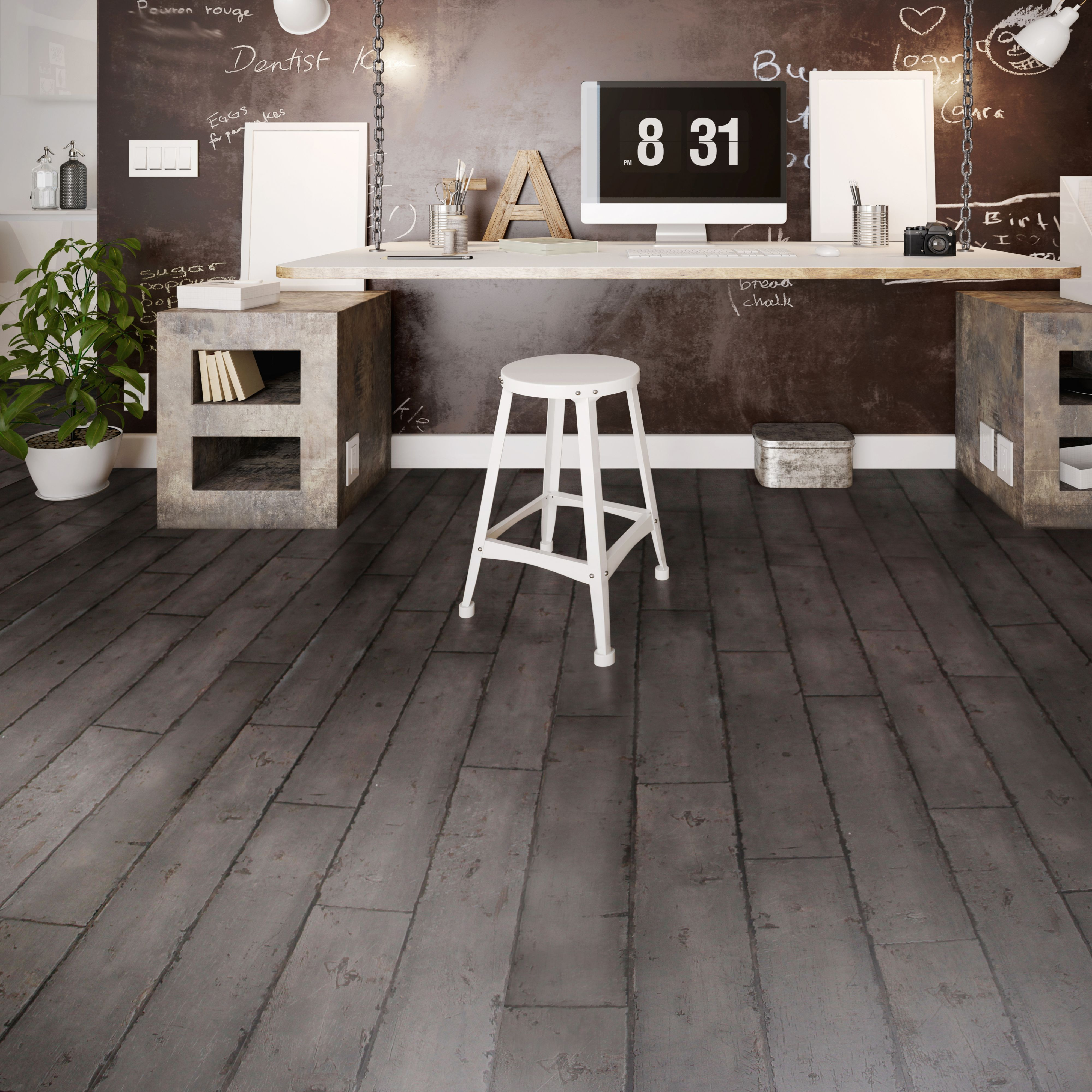 Colours Grey Distressed Charcoal Effect Luxury Vinyl Click Flooring 2196m2 Pack
