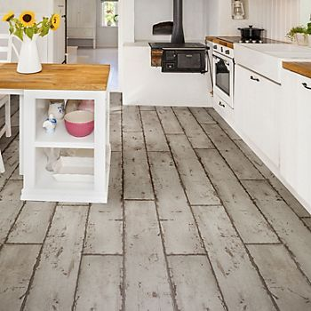 Grey Washed Wood Effect Waterproof Luxury Vinyl Click Flooring in a kitchen