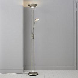 Mericourt Brushed Chrome Effect Floor Light