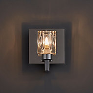 Pia Glass cube Chrome effect Wall light