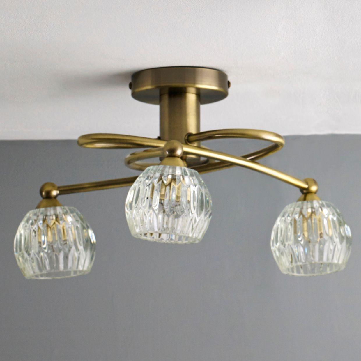 Steyning clear 3 lamp ceiling light departments diy at bq mozeypictures Gallery