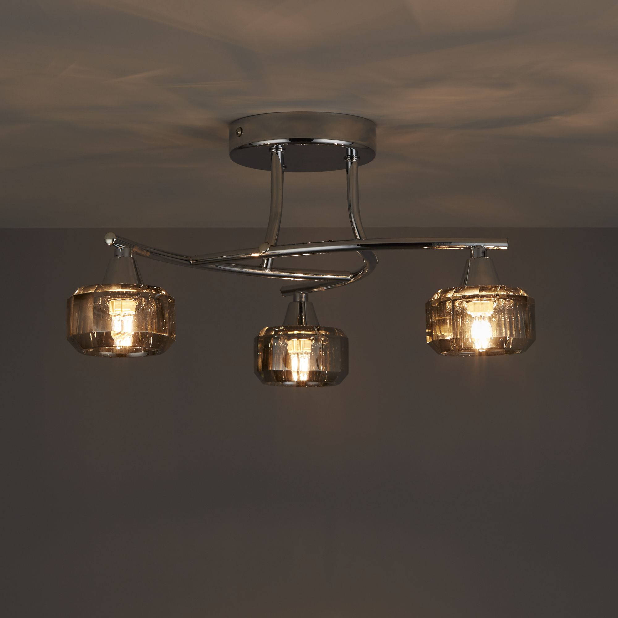 Allyn clear chrome smoked glass 3 lamp ceiling light departments allyn clear chrome smoked glass 3 lamp ceiling light departments diy at bq aloadofball Images