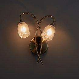 Forbes Clear Antique Brass Effect Wall Light