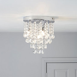 Glimmer Crystal Droplets Clear Chrome Effect 4 Lamp