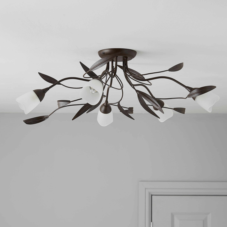 Cloe Brown Bronze Effect 5 Lamp Ceiling Light