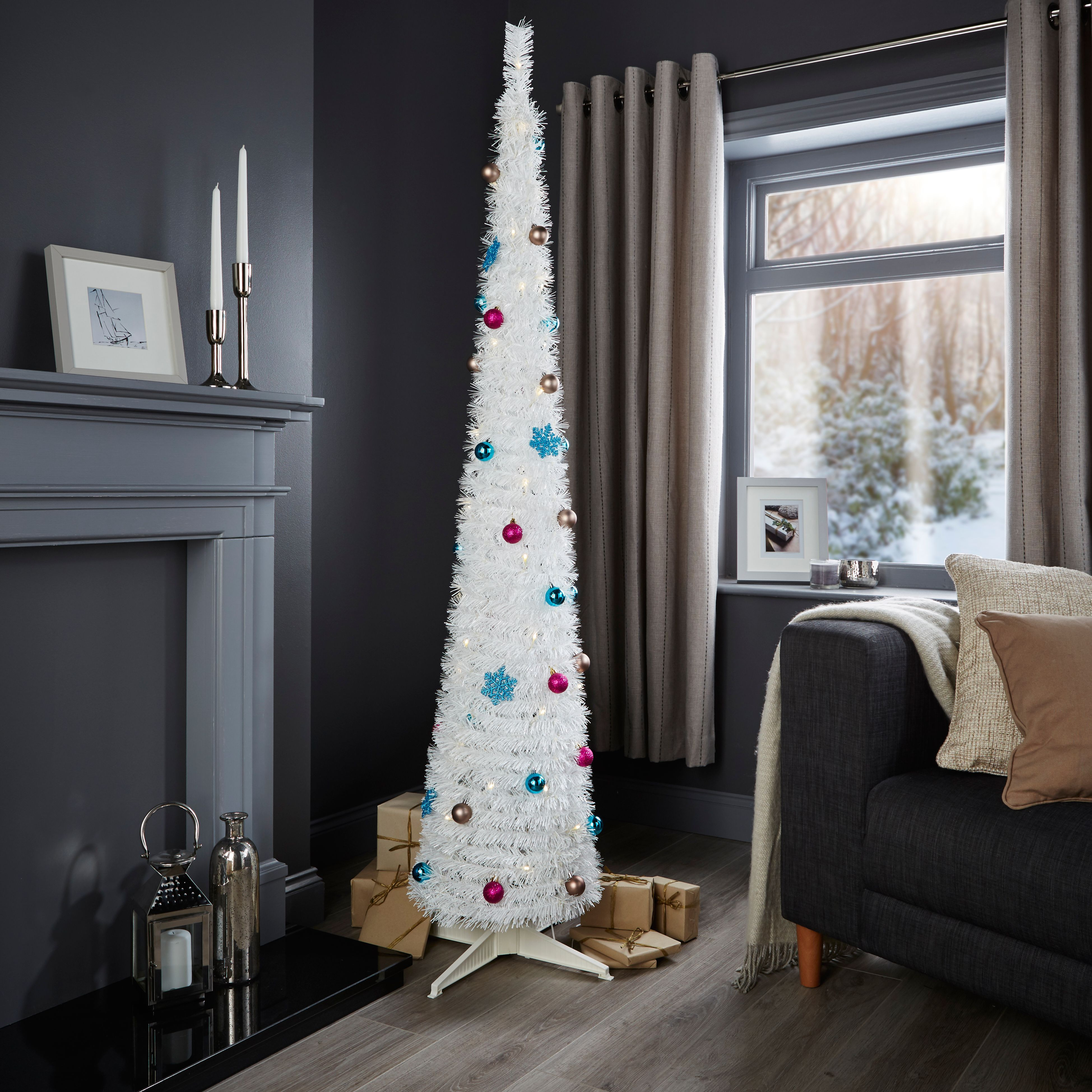 Pop Up Christmas Trees With Lights: 6ft Pop Up White Pre-lit & Pre Decorated Christmas Tree