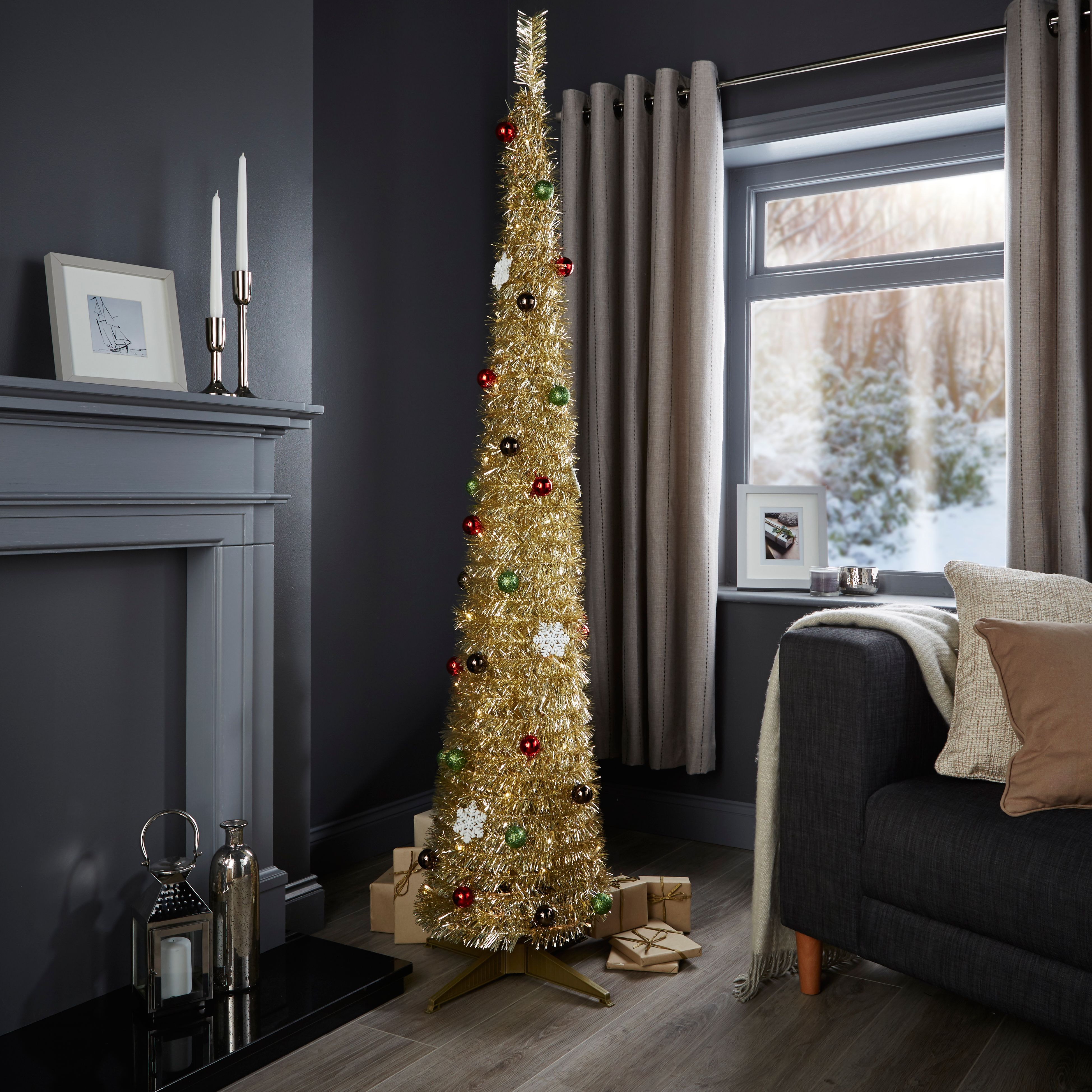 6 Ft Pop Up Pre Lit Pre Decorated Christmas Tree Departments Diy At B Q