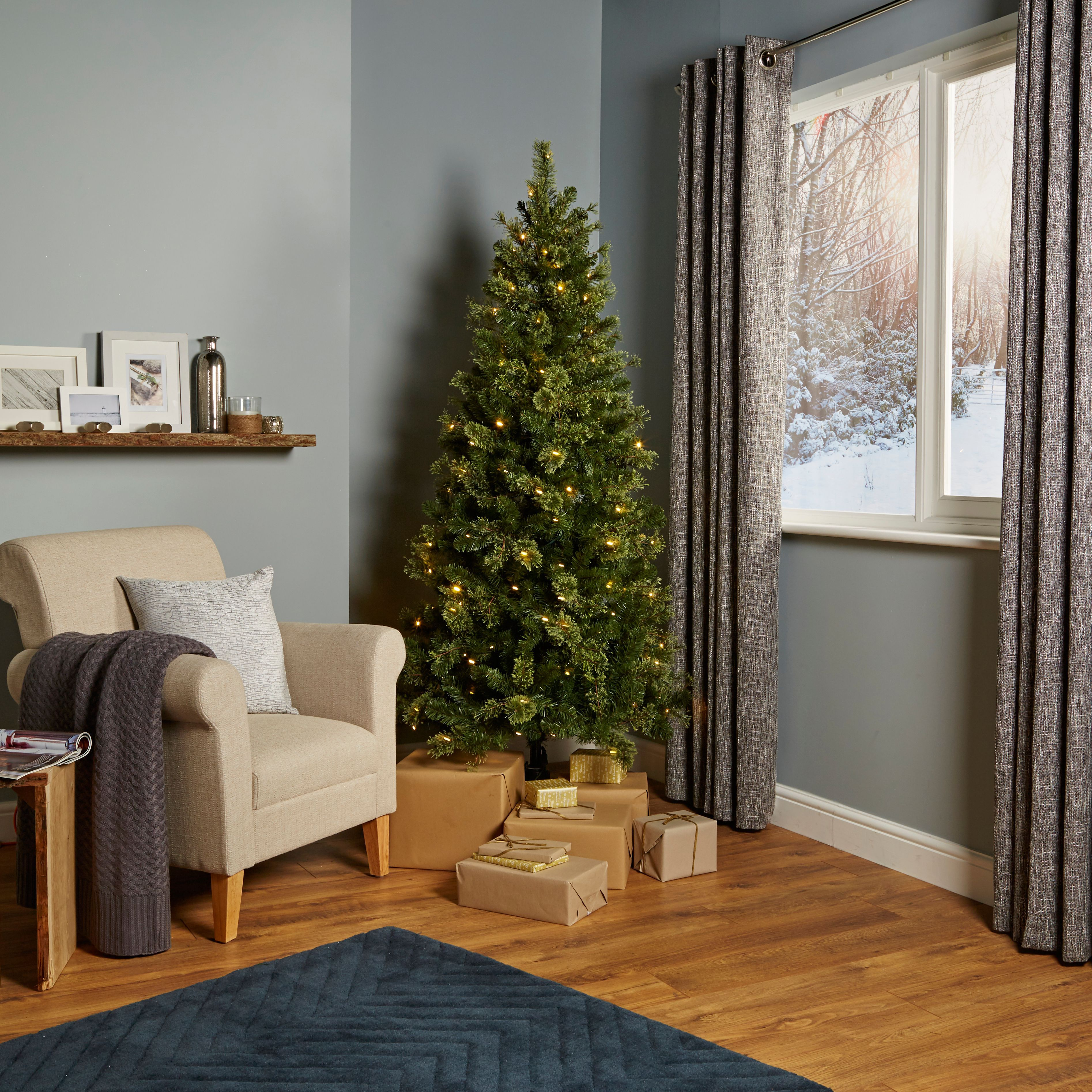 6ft 6In Pemberton Pre-Lit Christmas Tree   Departments   DIY at B&Q