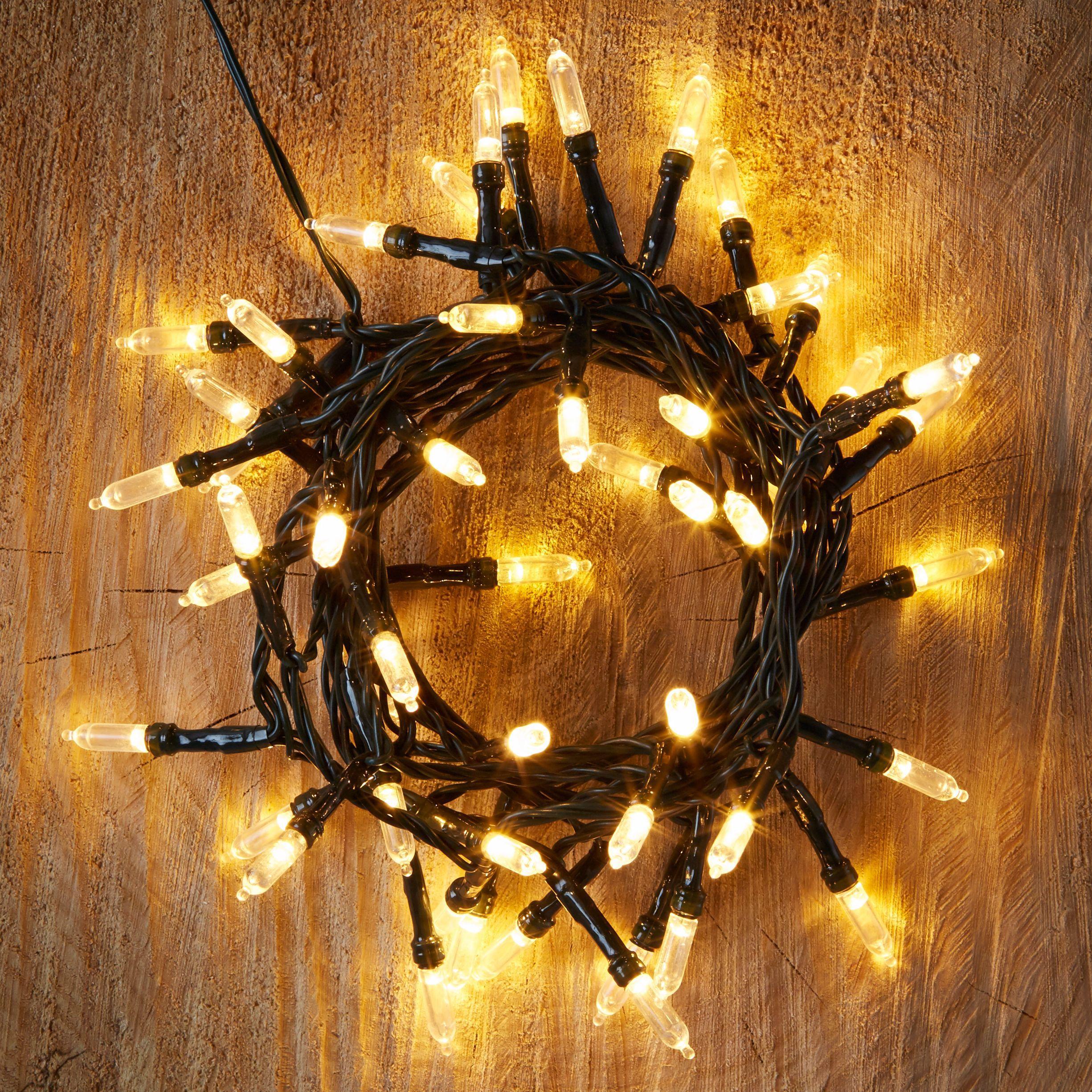 50 Warm White Led String Lights Departments Diy At B Q