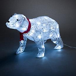 LED 3D Glitter Rattan Polar Bear Small Silhouette