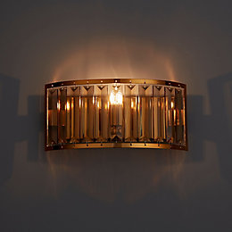 Dione Warm Copper Plate Effect Wall Light
