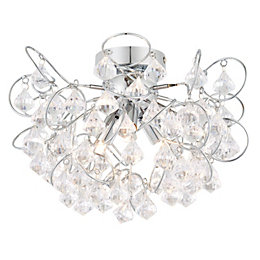Chesca Chrome Effect 3 Lamp Ceiling Light