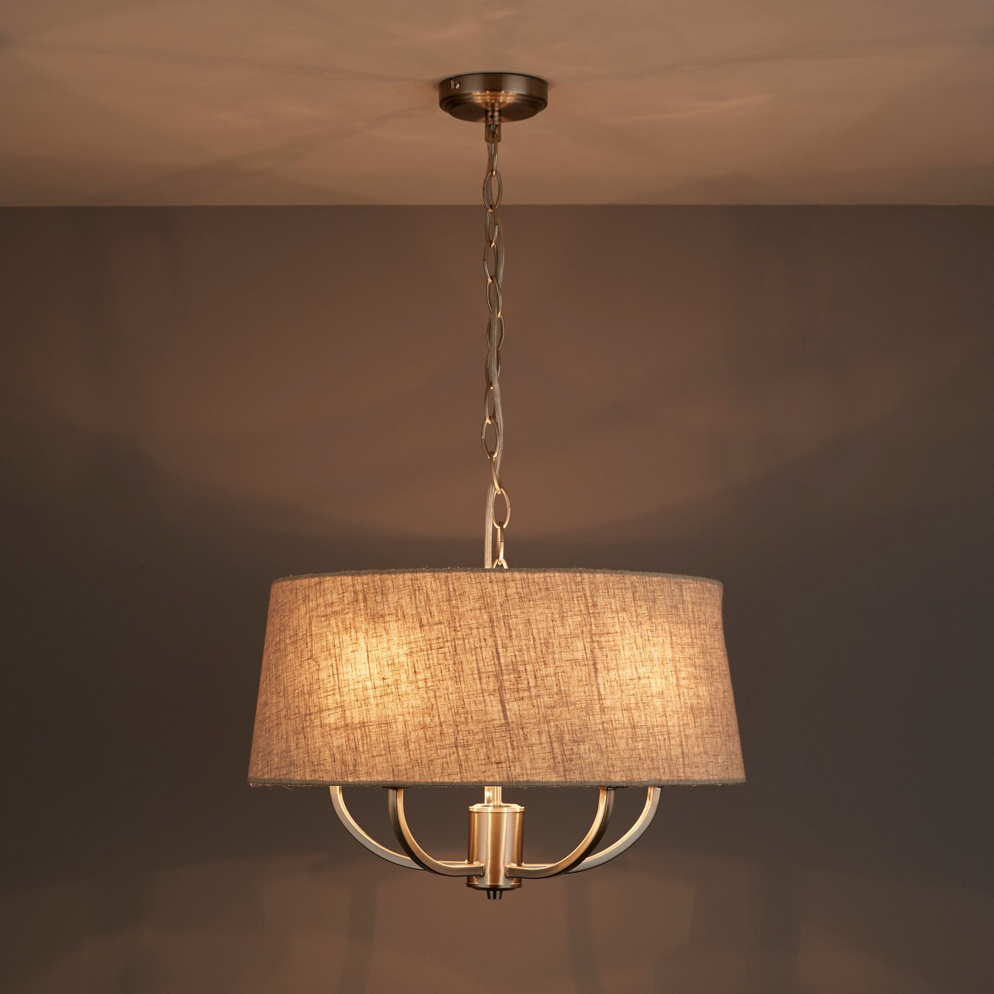 Hampstead Natural Linen Effect 5 Lamp Ceiling Light