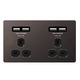 Colours 4.2A Black Nickel Unswitched Double Socket &