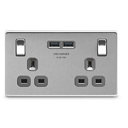 Colours 3.1A Brushed Steel Switched Double Socket &