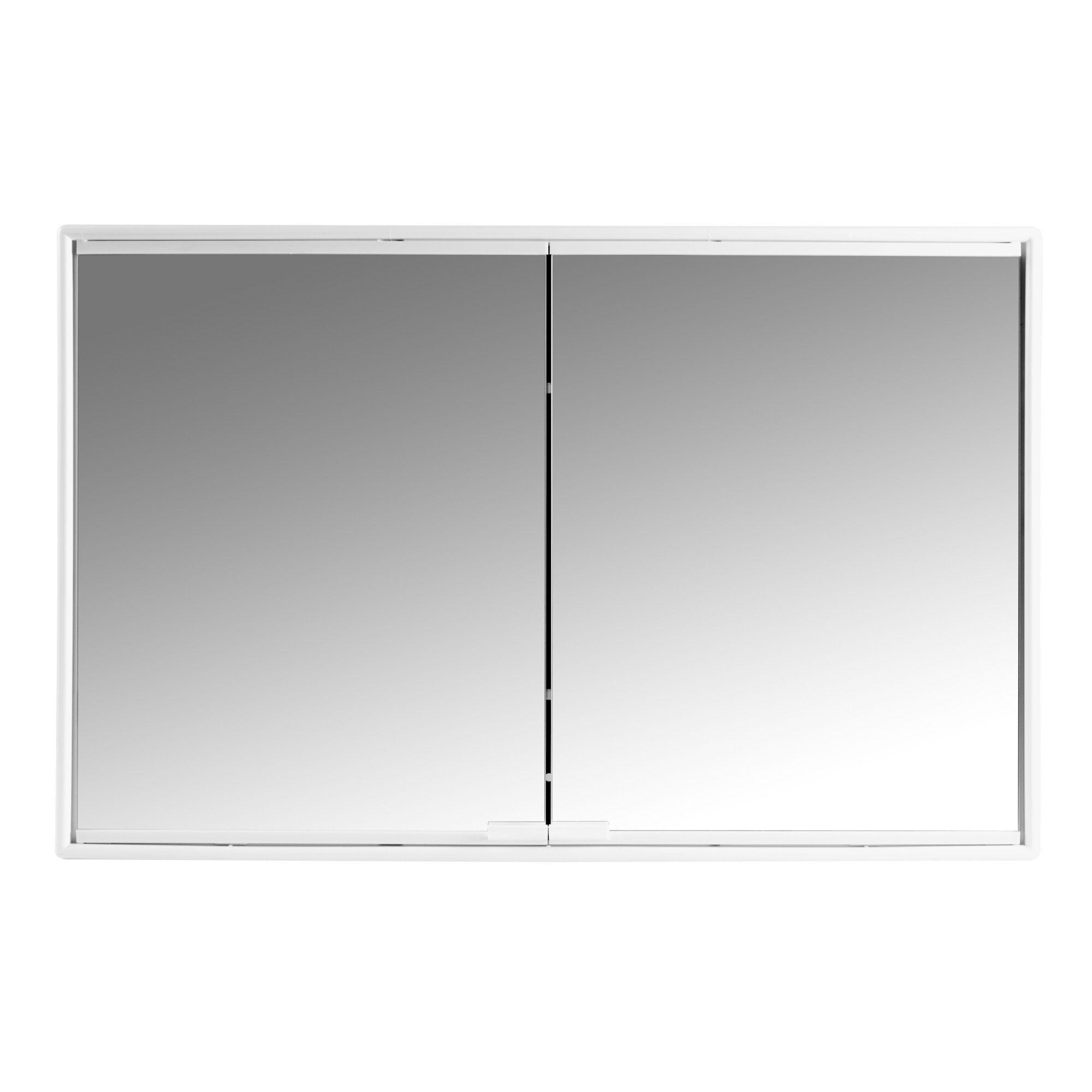 Alcudina White Double Door Mirror Cabinet Departments Diy At Bq