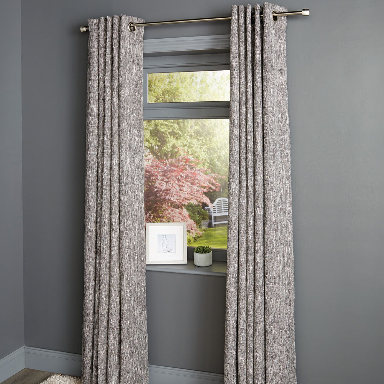 Karluga Black Woven Eyelet Lined Curtains (W)167 cm (L)228 cm   Departments   DIY at B&Q