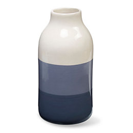 Blue & cream Glazed Ombre Ceramic Vase, Small