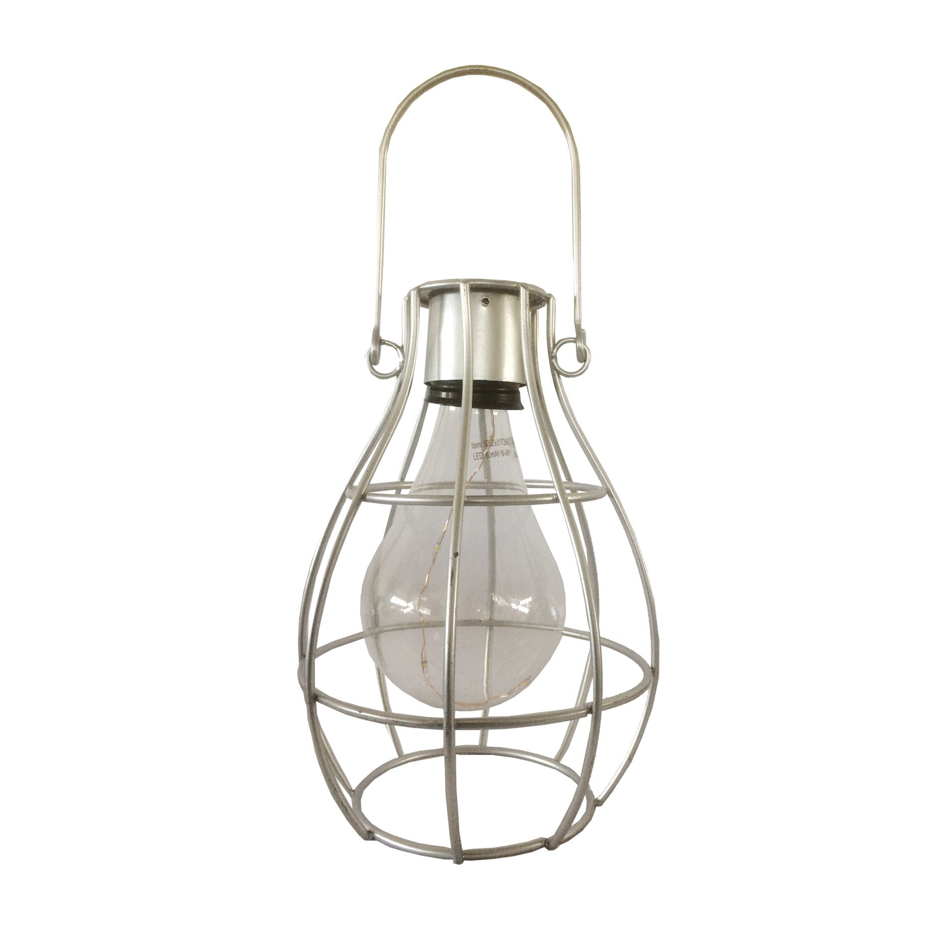Solar Lights B Q: Blooma Ellopos Silver Effect Caged Solar Powered LED