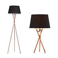 Jake Modern Brushed copper effect Table & floor lamp, Set