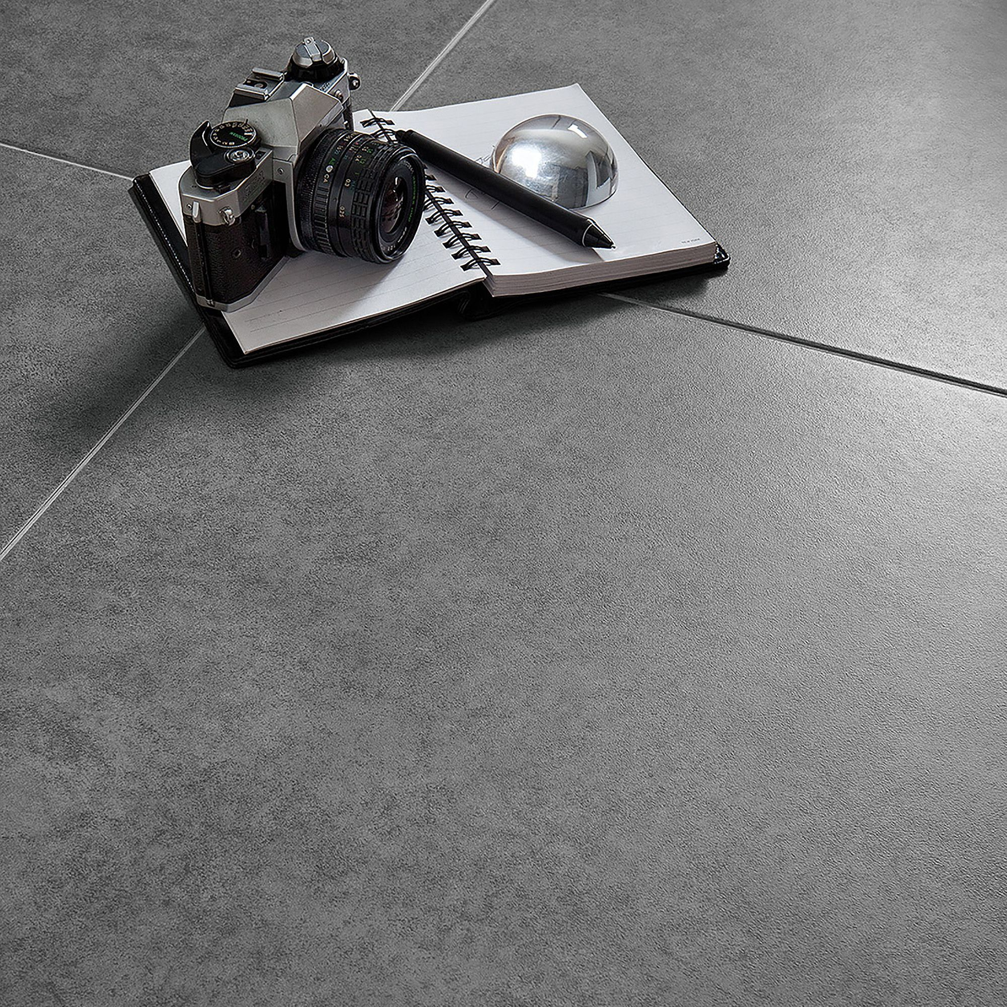 Grey cement inspired design porcelain floor tile pack of 5 l grey cement inspired design porcelain floor tile pack of 5 l450mm w450mm departments diy at bq dailygadgetfo Image collections