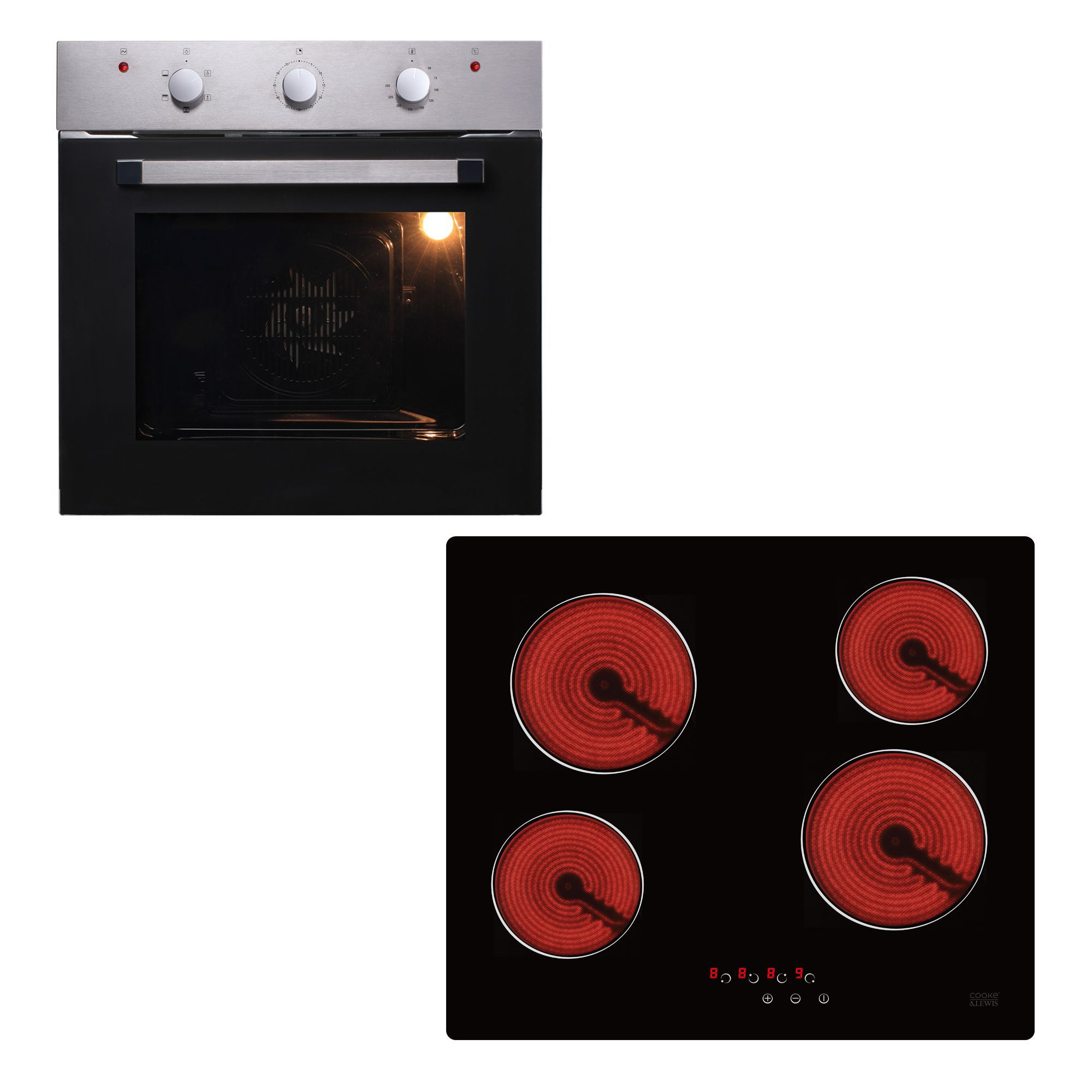 Cooke Lewis Ovfo60 Tn604a Glass Stainless Steel Single Fan Oven Ceramic Hob Pack Departments Tradepoint