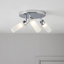 Float Chrome Effect 3 Lamp Bathroom Ceiling Light