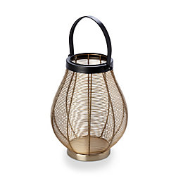 Gold effect Wire Mild steel Lantern, Large