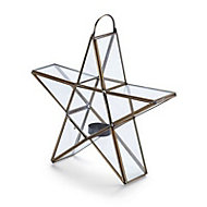 Gold effect Star Glass & metal Tealight holder