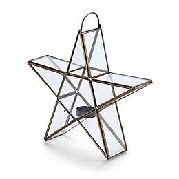 Gold effect Star Glass & metal Tealight holder