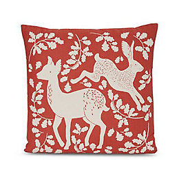 Deer & Hare Print Terracota Cushion