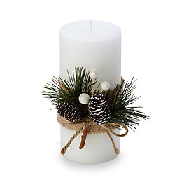 Plain with Pine Cone Decoration Vanilla Candle