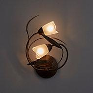 Cloe Brown & black Brushed Wall light