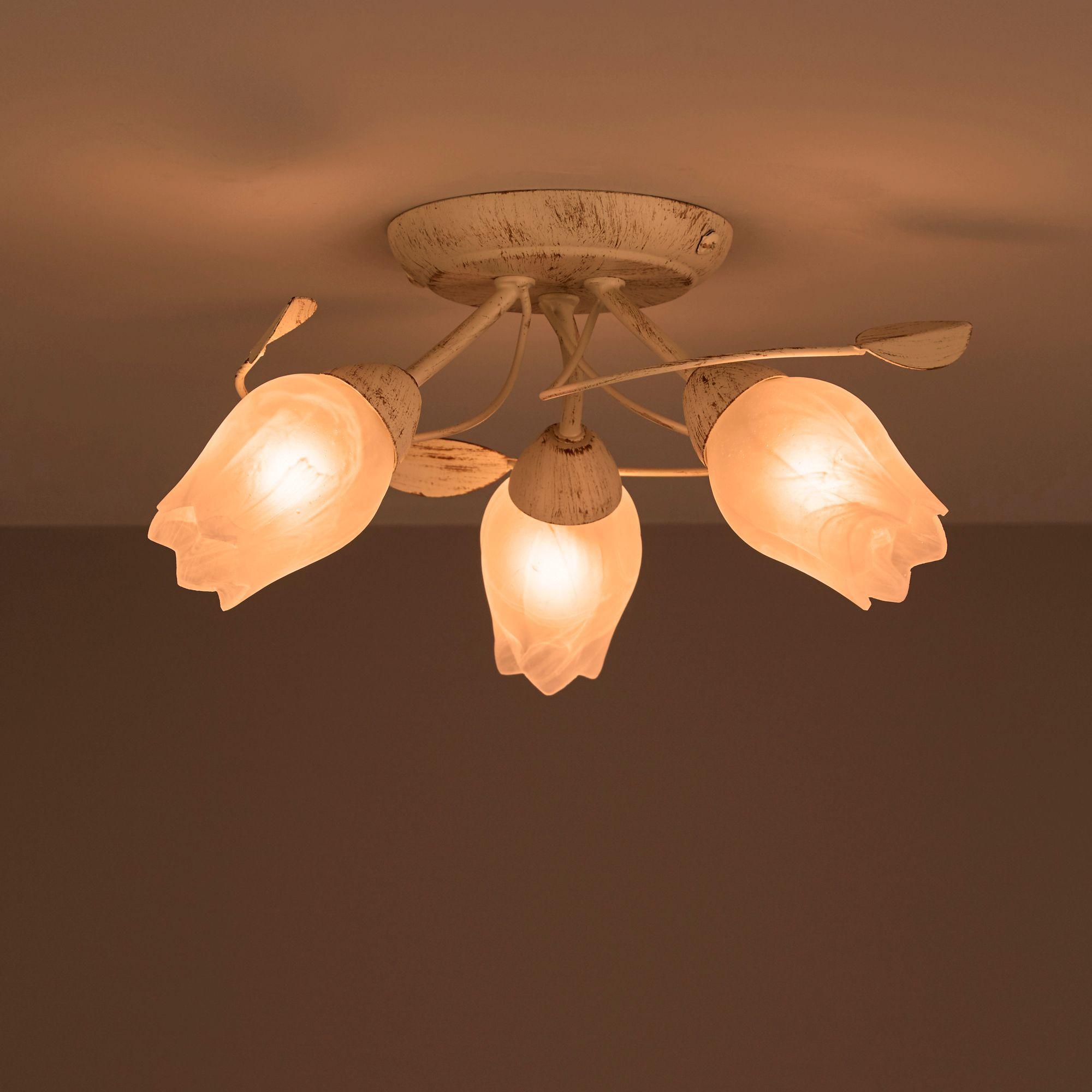 April Cream Brushed 3 Lamp Ceiling Light