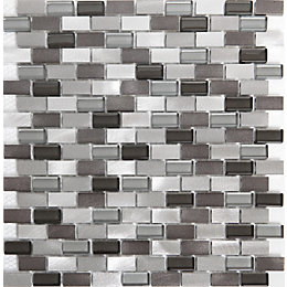 Carini Grey Aluminum Mosaic Tile, (L)304mm (W)292mm