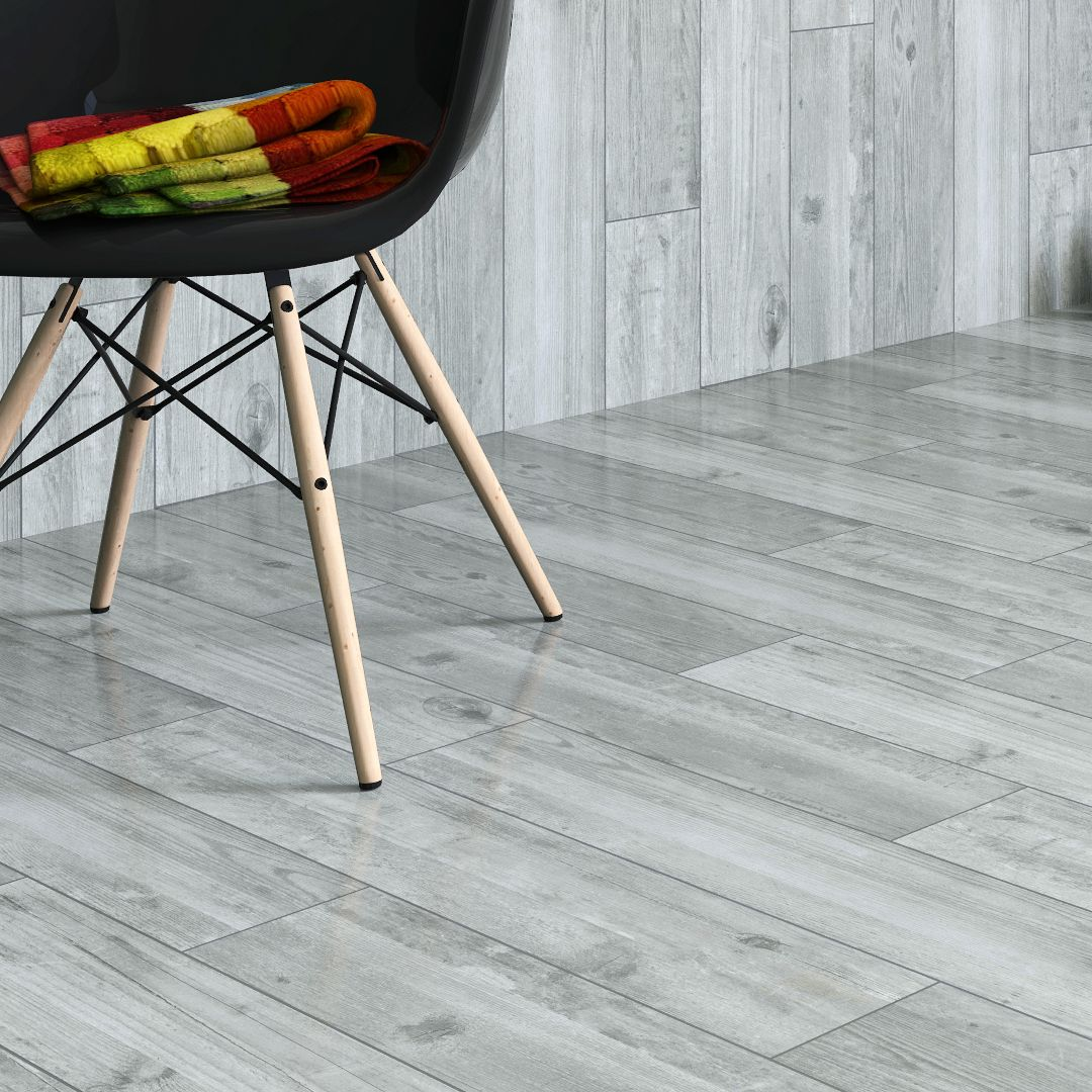Damaso Grey Wood effect Porcelain Floor tile, Pack