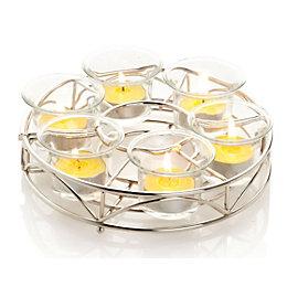 Chrome effect Parasol Glass Tea light holder, Small