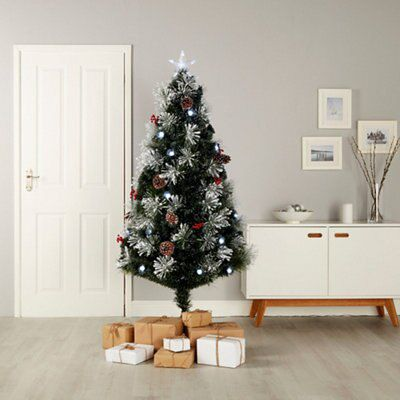 5ft Snow Tipped Fibre Optic Christmas Tree Departments Diy At B Q