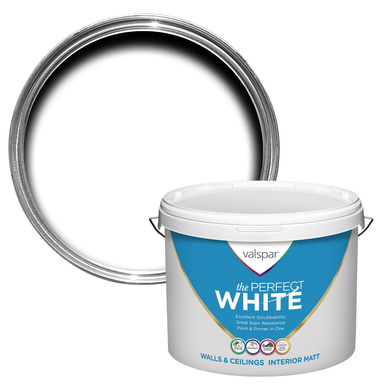 Valspar White Matt Emulsion paint, 10L | Departments | DIY at B&Q