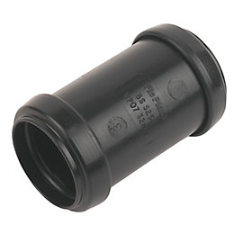 Floplast Push Fit Waste Coupling (Dia)32mm, Black