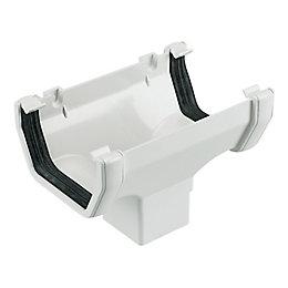 Floplast Square Gutter Running Outlet (W)114 mm, White